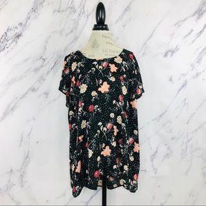Torrid Floral Peach Chiffon Short Sleeve Blouse